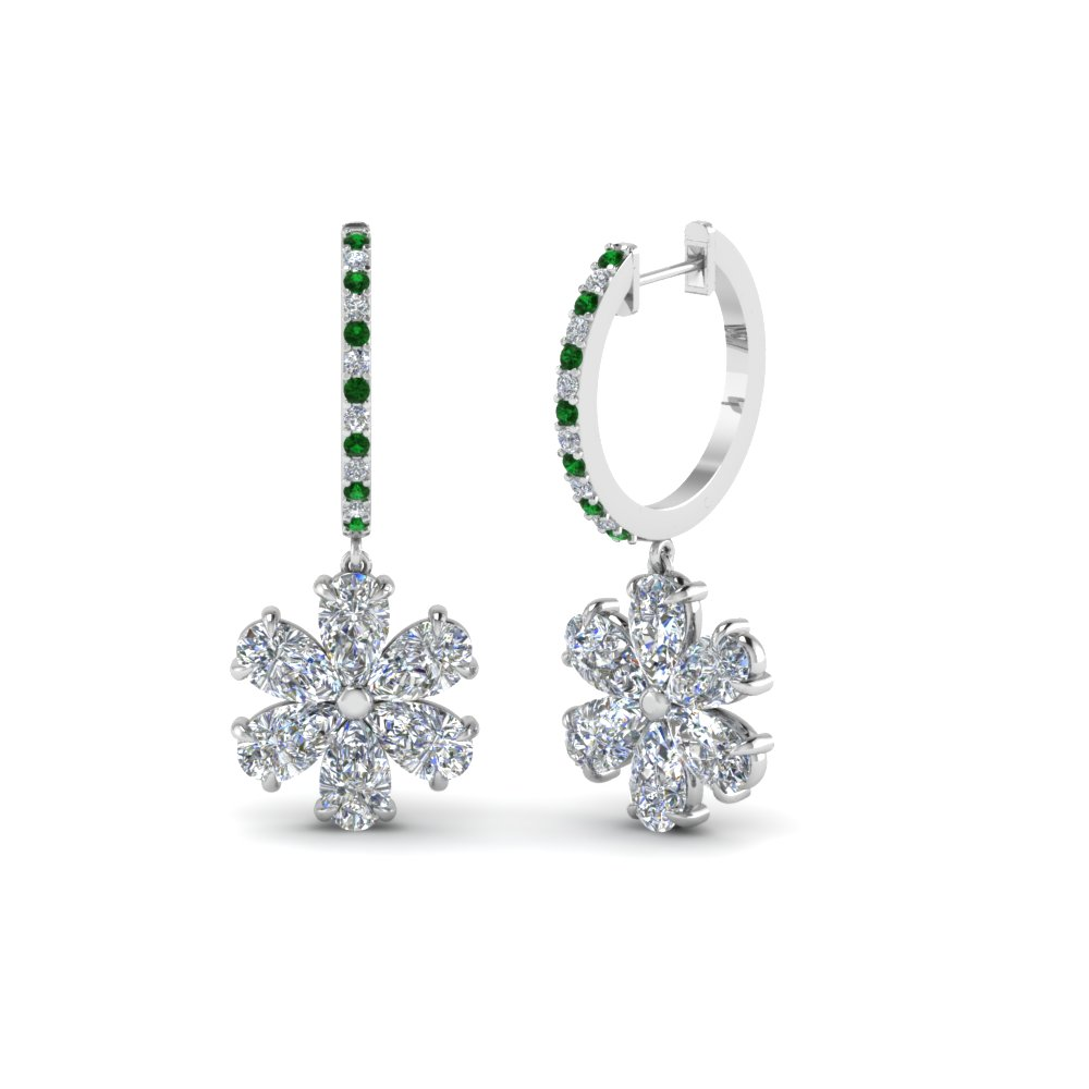 Emerald Drop Diamond Earring