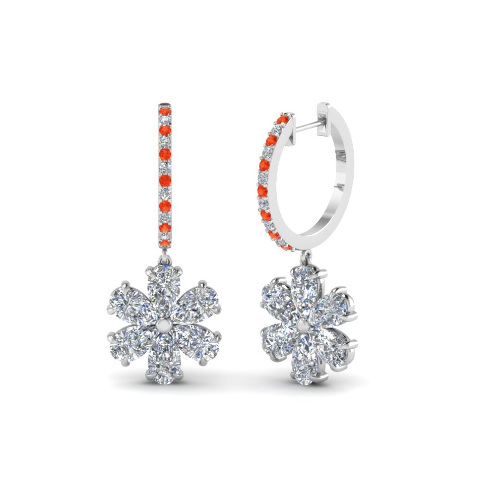 floral pear drop hoop diamond earring with orange topaz in 14K white gold FDEAR8193GPOTO NL WG