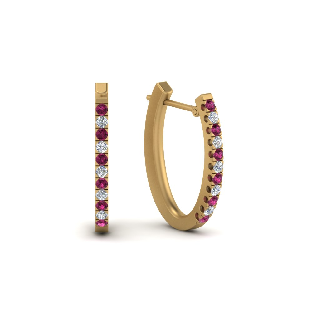 Pink Sapphire Gold Huggie Earring
