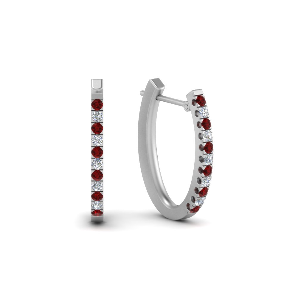 Ruby Hoop Earring For Womens
