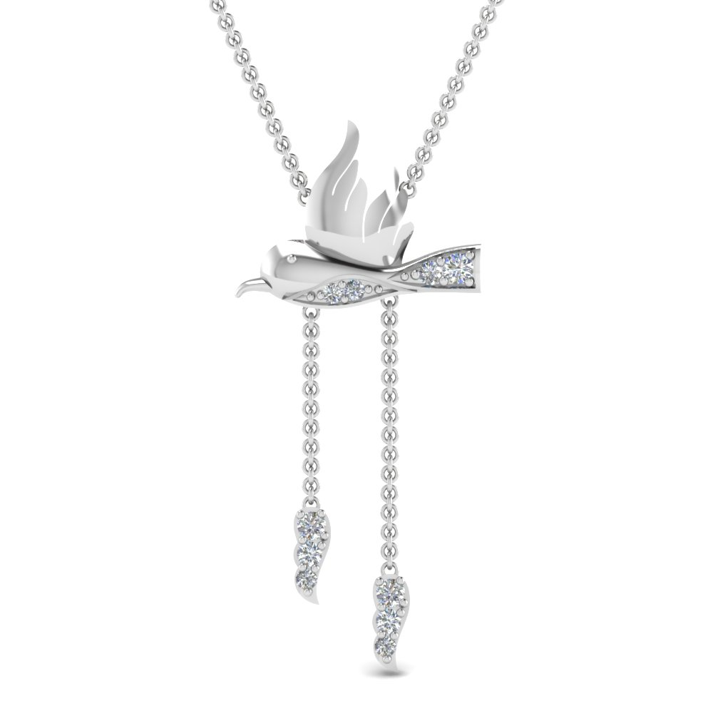 d758a7cdfd0537 Humming Bird Y Diamond Necklace In 18K White Gold | Fascinating Diamonds