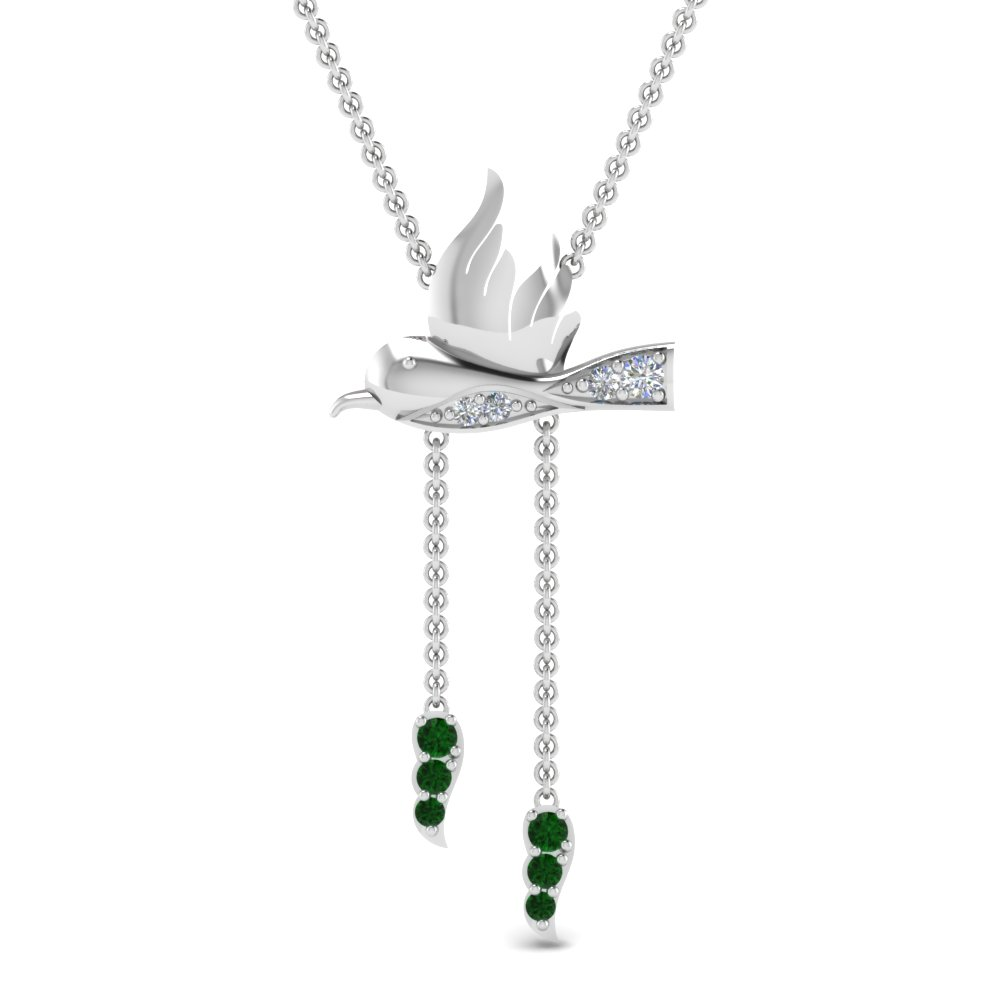 Emerald Bird Drop Pendant