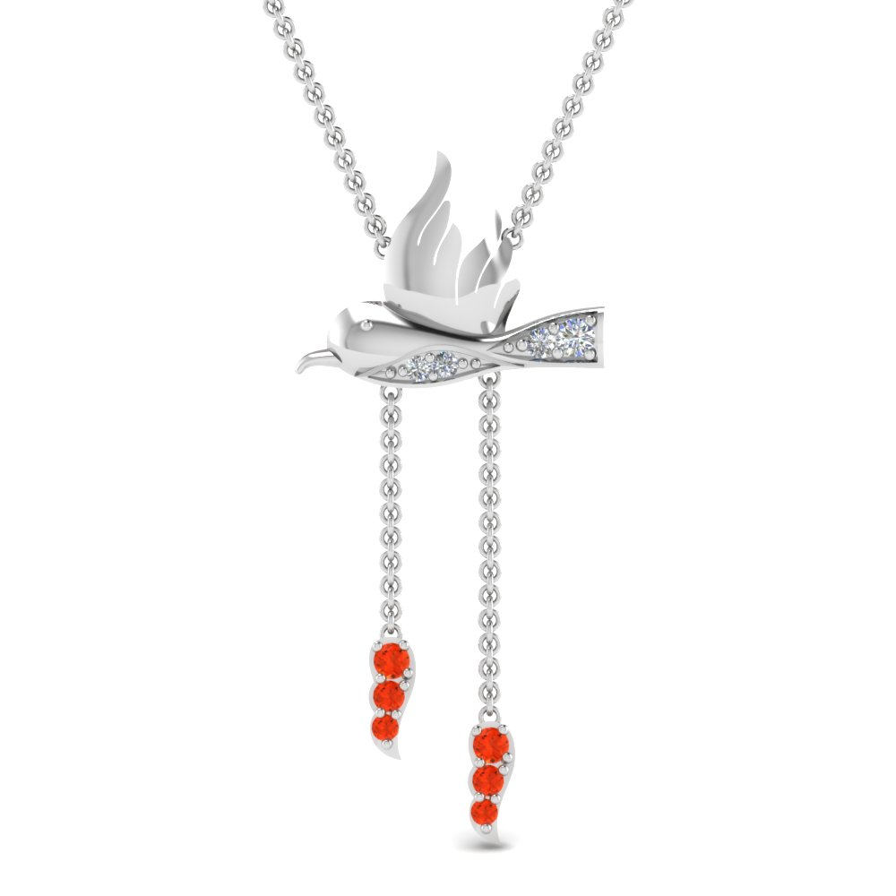 Sterling Silver Orange Topaz Necklace