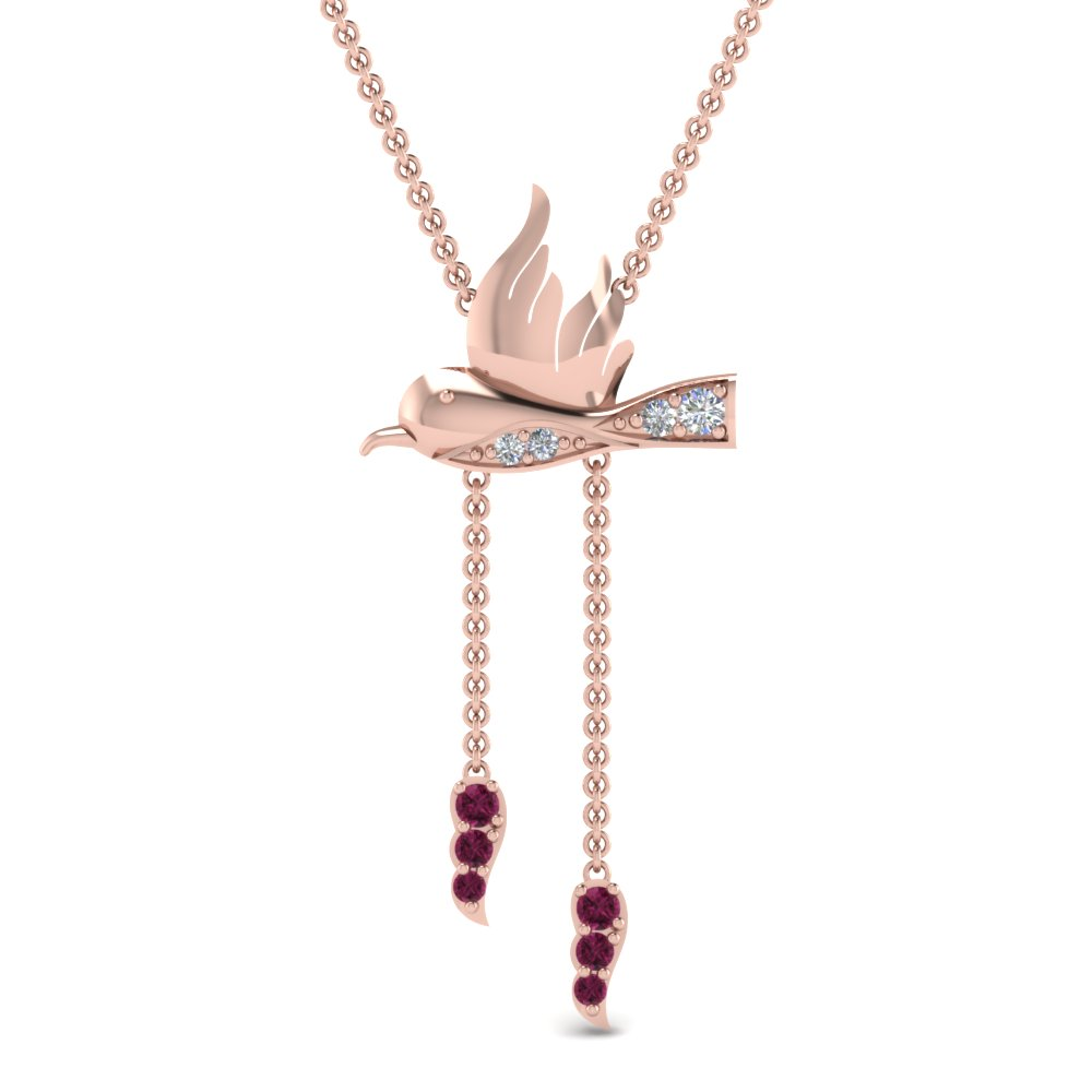 humming bird y diamond necklace with pink sapphire in FDPD8926GSADRPIANGLE1 NL RG
