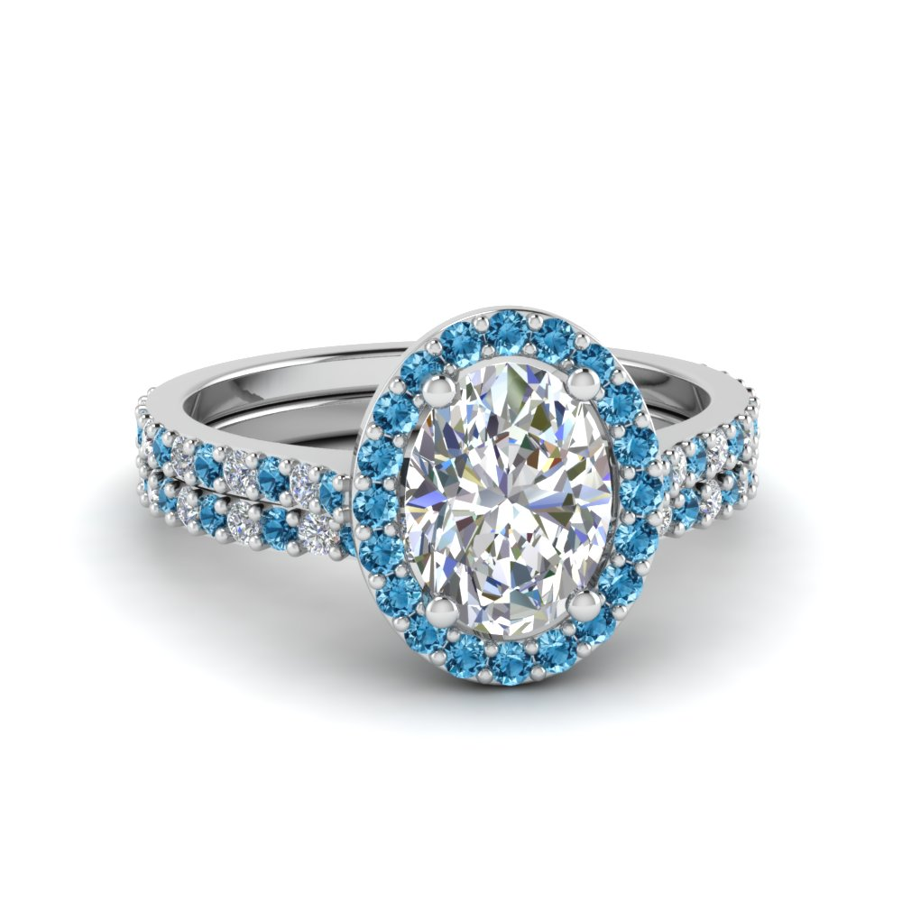 inexpensive oval shape halo diamond bridal sets with ice blue topaz in fd8163ovgicblto nl wg - Inexpensive Wedding Ring Sets