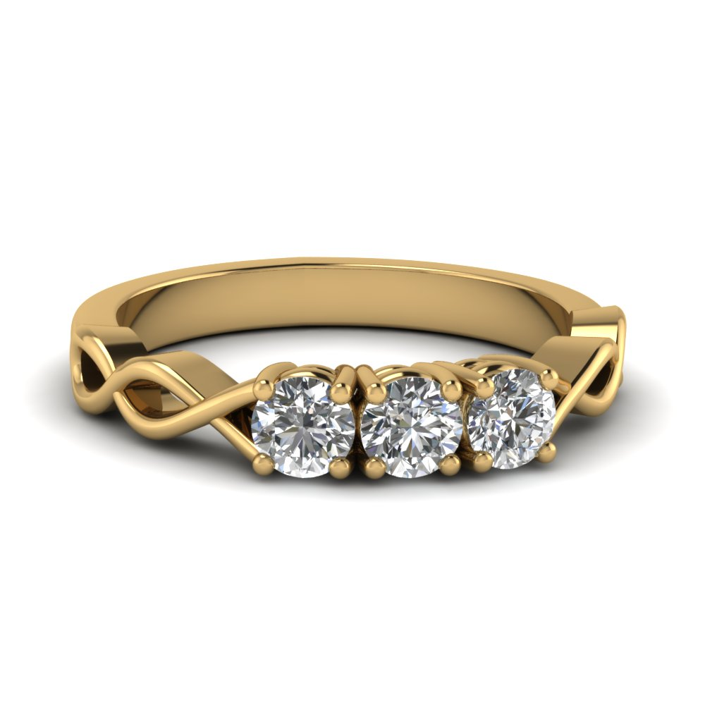 Yellow Gold Infinity Style 3 Stone Diamond Ring
