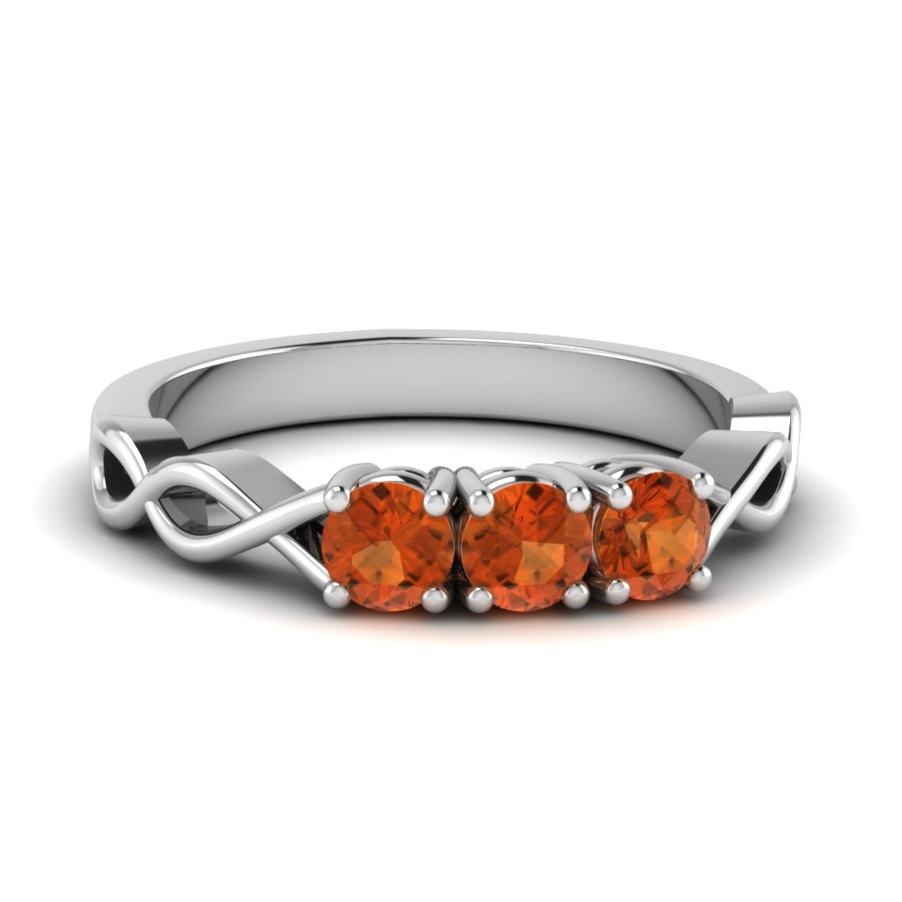 Infinity Orange Sapphire Wedding Band