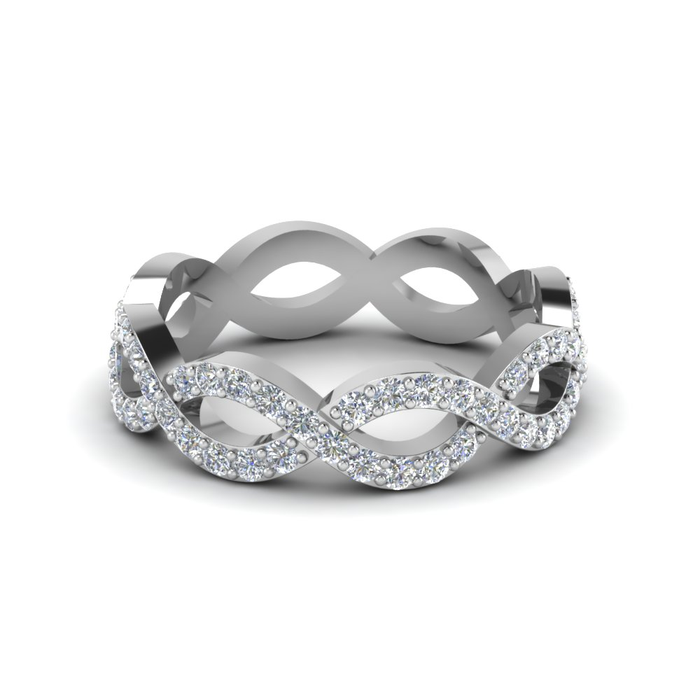 infinity diamond eternity wedding anniversary band for women in 14K white gold FD8063B NL WG