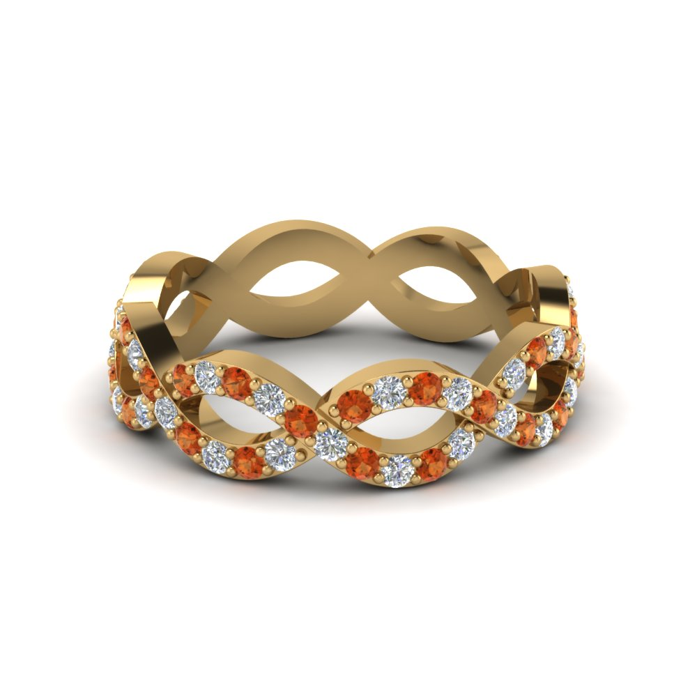 infinity diamond eternity band for women with orange sapphire in 14K yellow gold FD8063BGSAOR NL YG