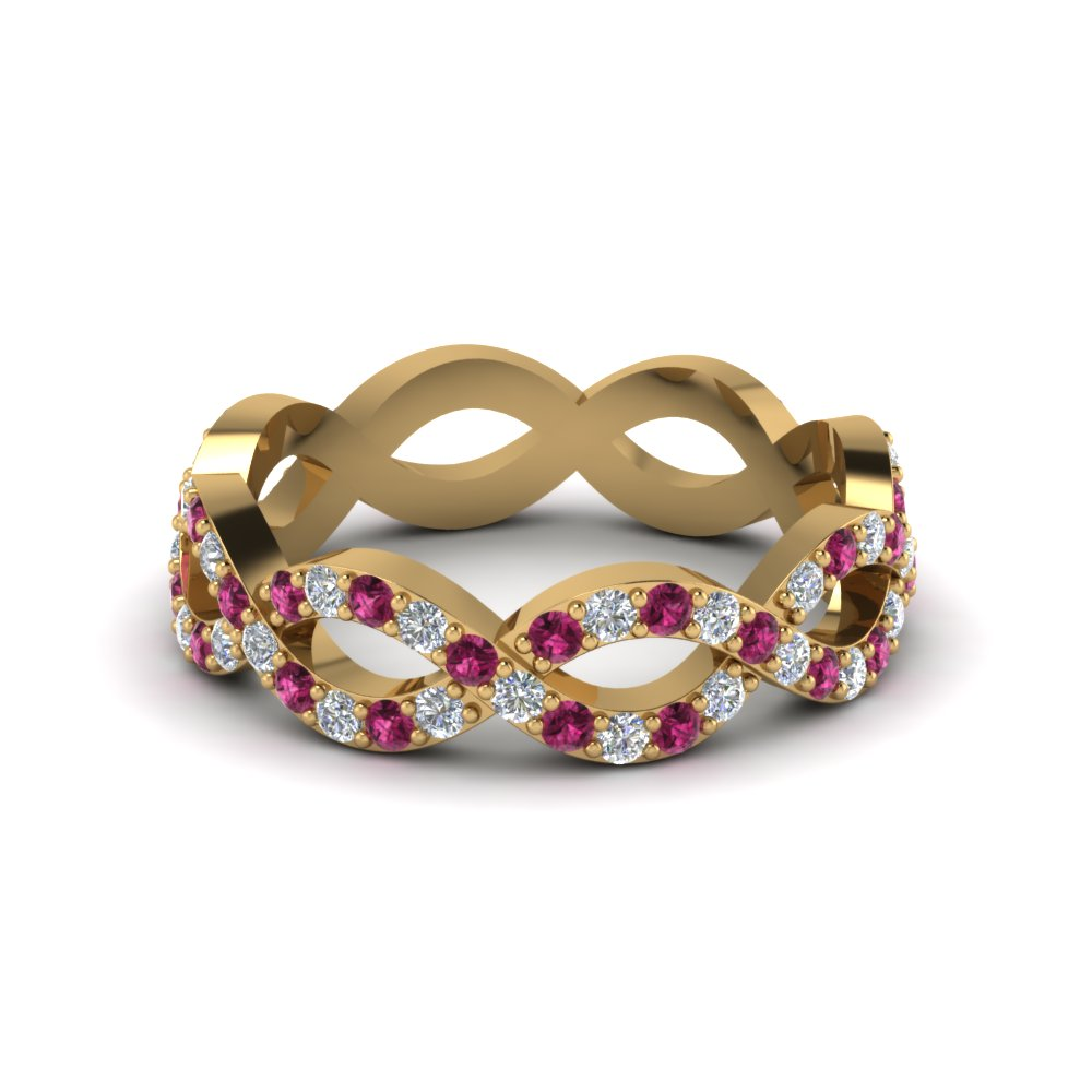 infinity diamond eternity band for women with pink sapphire in 14K yellow gold FD8063BGSADRPI NL YG