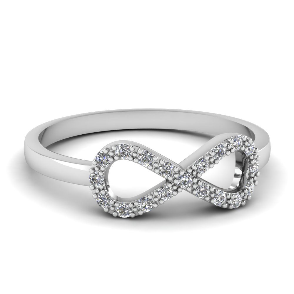 Infinity Diamond Fancy Wedding Ring For Women In 18K White Gold FD651088R NL WG