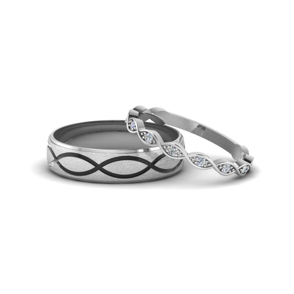 infinity diamond matching wedding anniversary band gifts in 14K white gold FD8134B NL WG