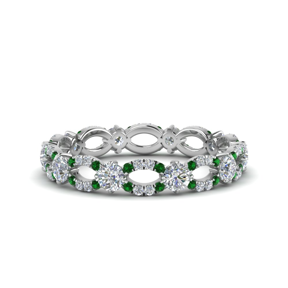Infinity Eternity Diamond Anniversary Engagement Ring With Emerald In 18K White Gold