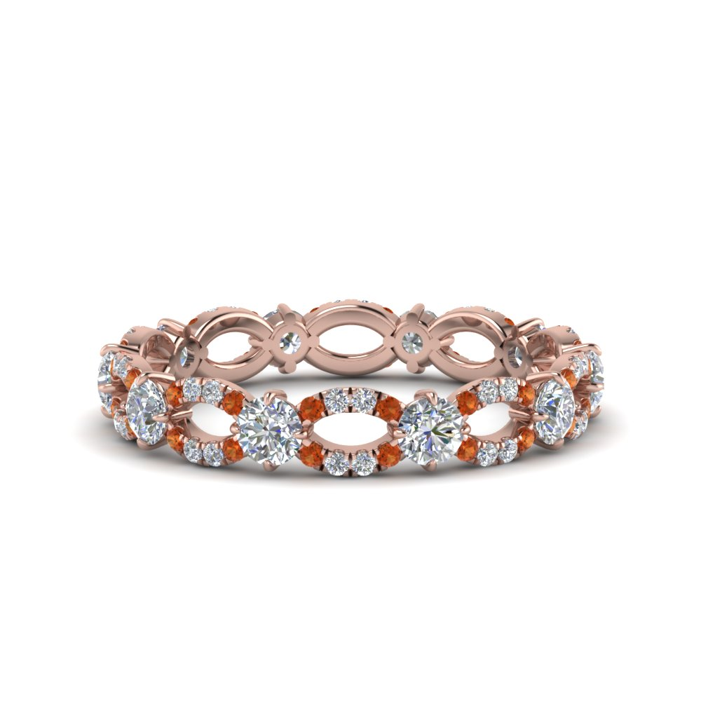 Infinity Eternity Diamond Anniversary Engagement Ring With Orange Sapphire In 14K Rose Gold