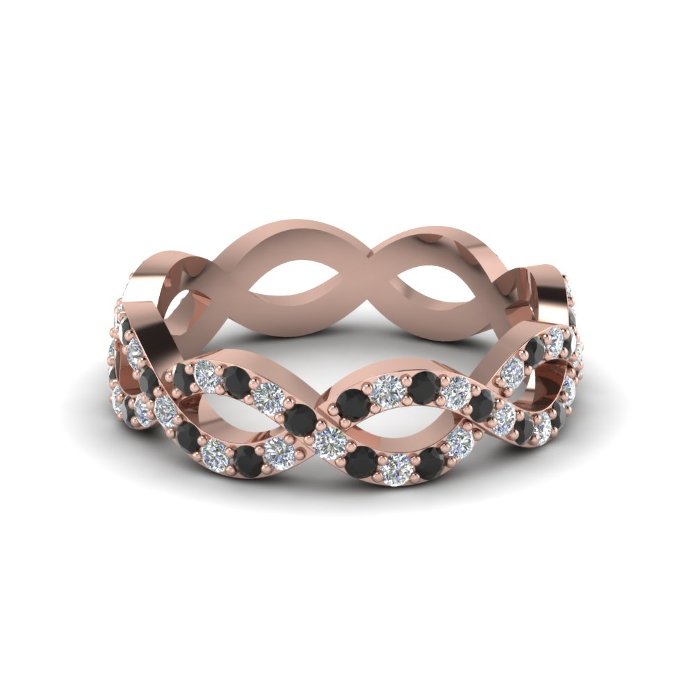 infinity eternity band for women with black diamond in 14K rose gold FD8063BGBLACK NL RG