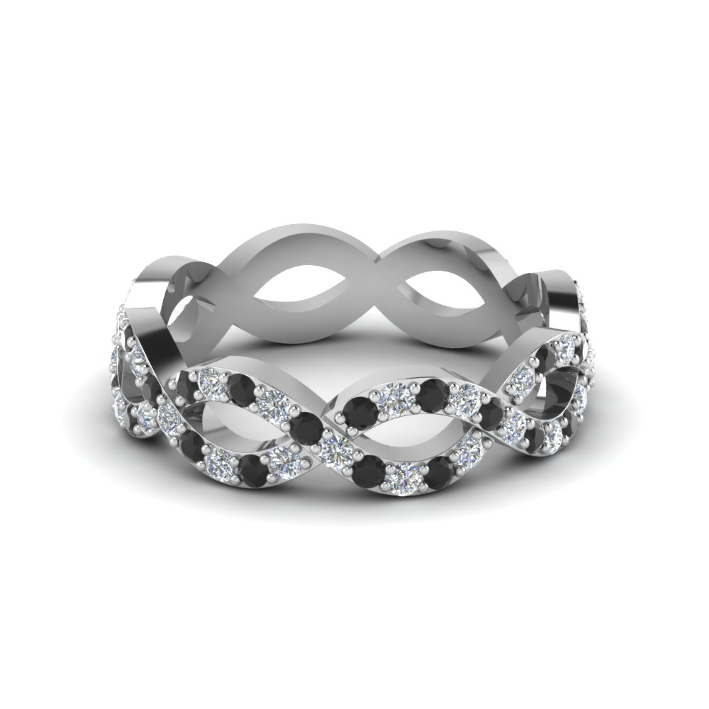 infinity eternity band for women with black diamond in 950 Platinum FD8063BGBLACK NL WG