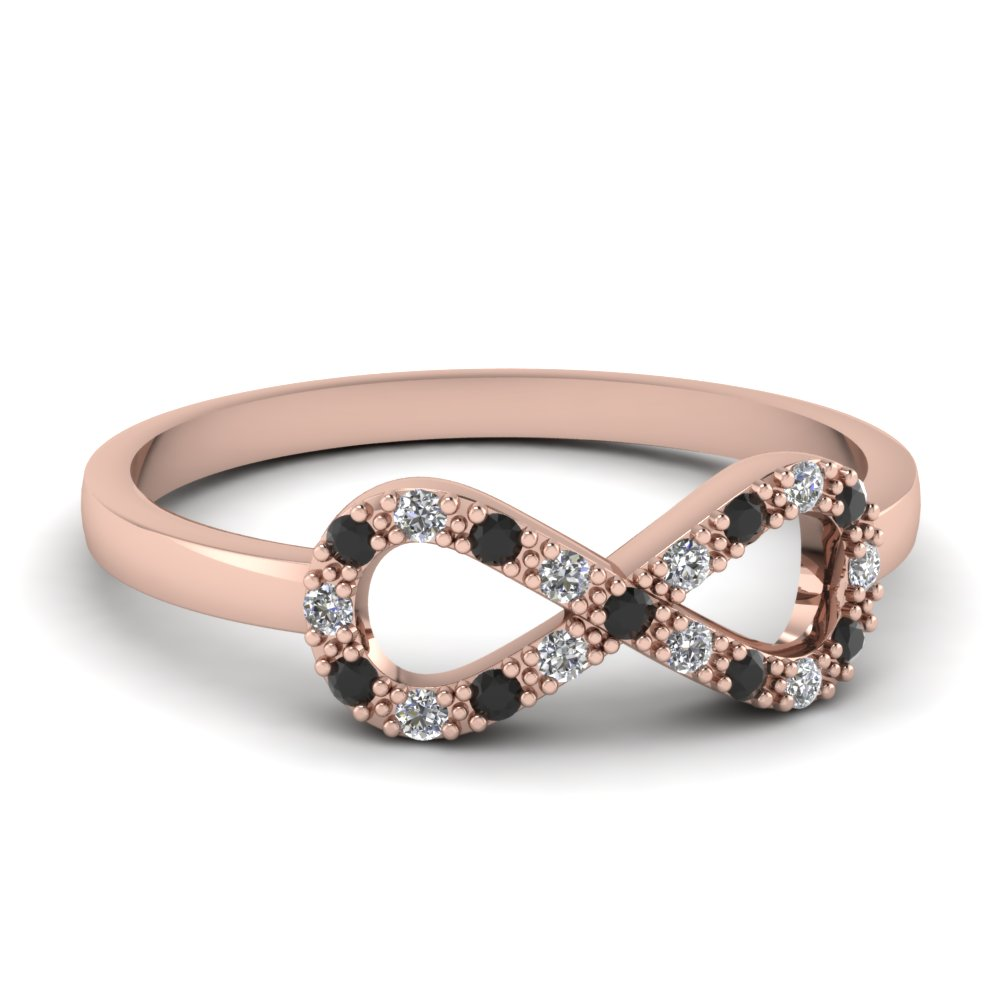 Infinity Fancy Wedding Ring For Women With Black Diamond In 14K Rose Gold