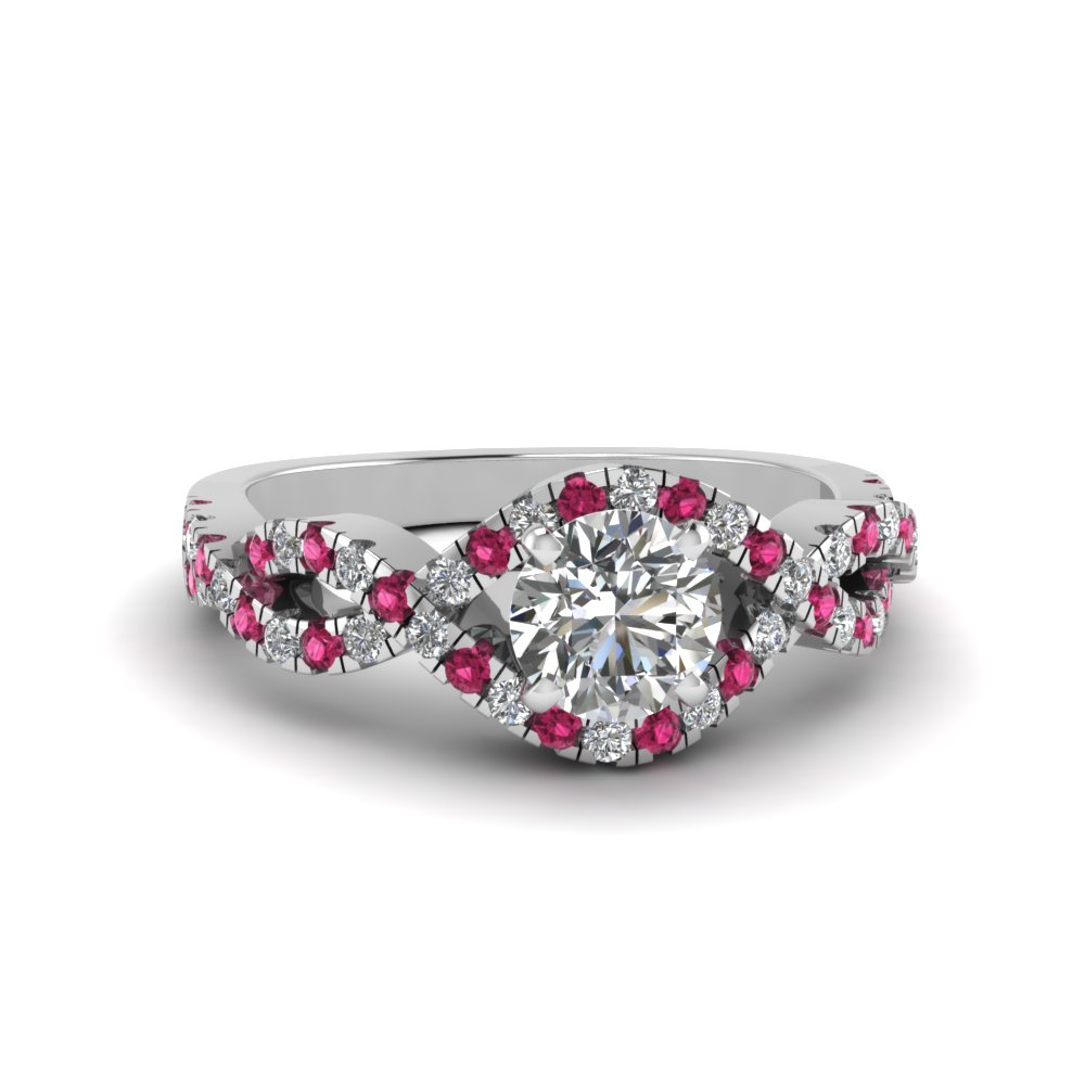 Twisted Shank Halo Ring With Pink Sapphire