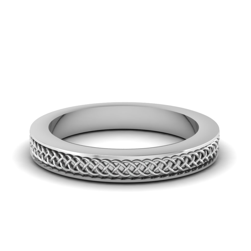 intertwined engraved wedding band in FDENS3617B NL WG