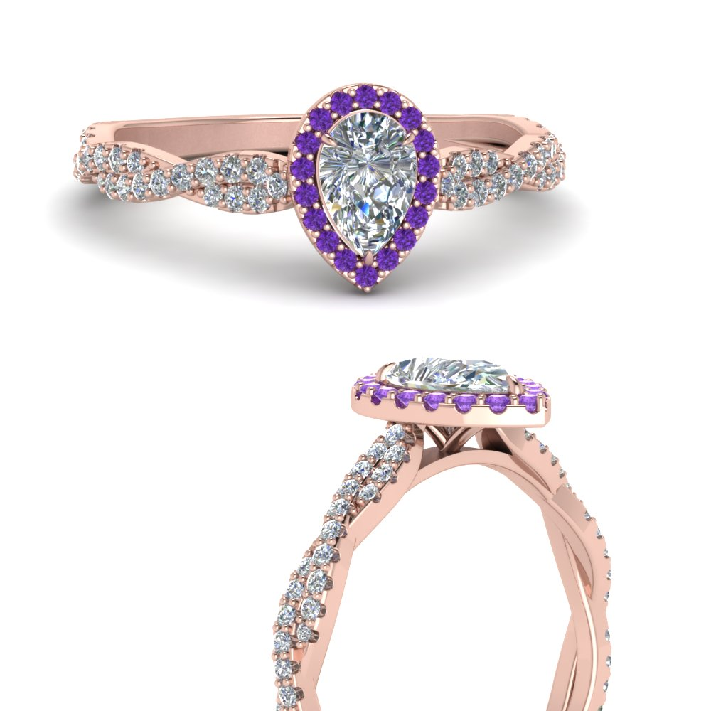 infinity-halo-pear-shaped-moissanite-engagement-ring-with-purple-topaz-in-FD123267PERGVITOANGLE3-NL-RG