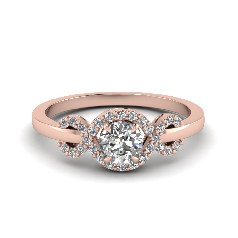 Infinity Halo Round Cut Diamond Engagement Ring In 14k Rose Gold Fdenr9164ror Nl Rg