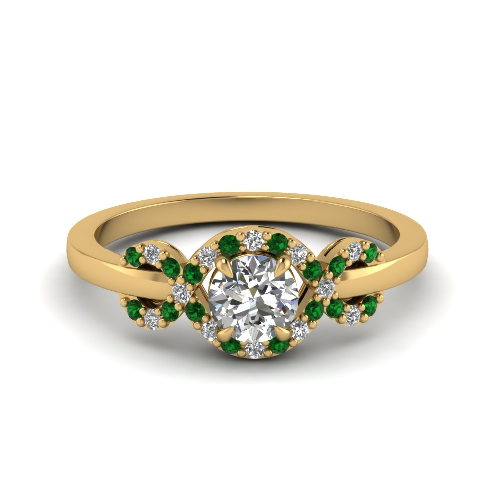 infinity halo round cut diamond engagement ring with emerald in 18K yellow gold FDENR9164RORGEMGR NL YG