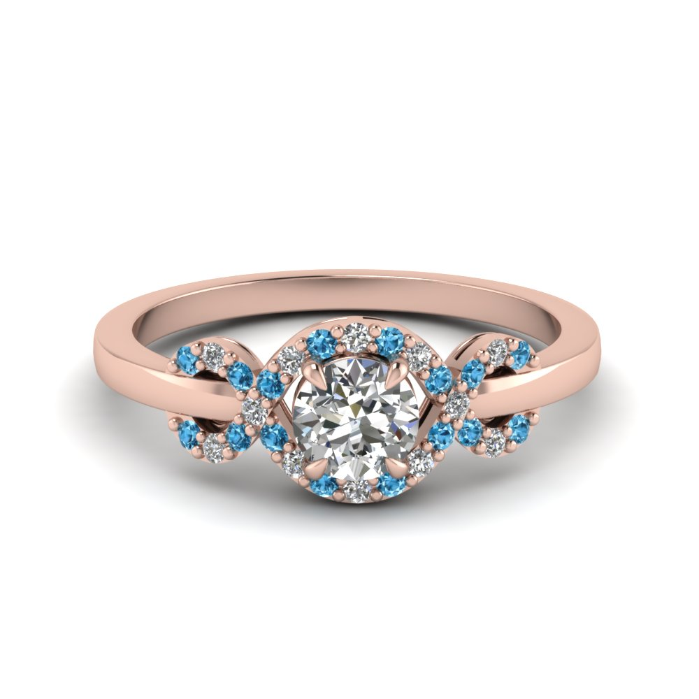 Infinity Halo Round Cut Diamond Engagement Ring With Ice Blue Topaz In 18k Rose Gold Fdenr9164rorgicblto