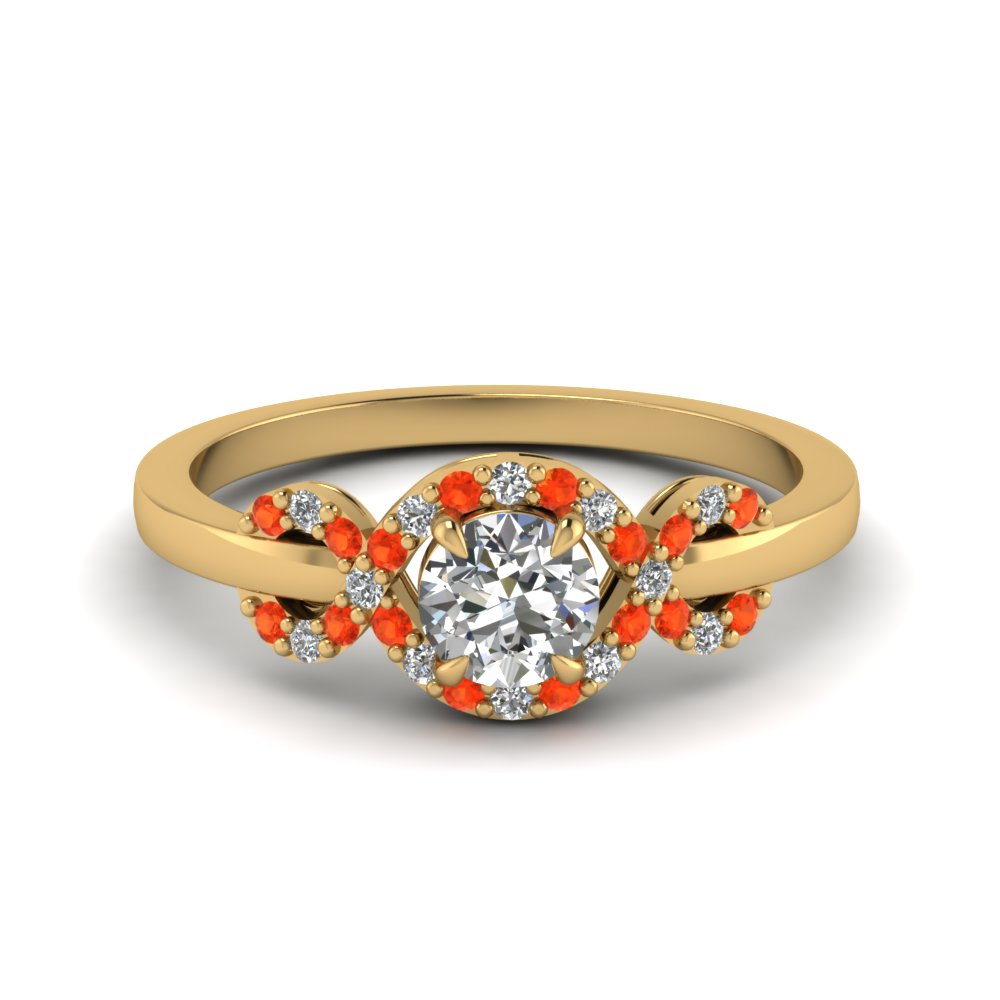 infinity halo round cut diamond engagement ring with poppy topaz in 14K yellow gold FDENR9164RORGPOTO NL YG