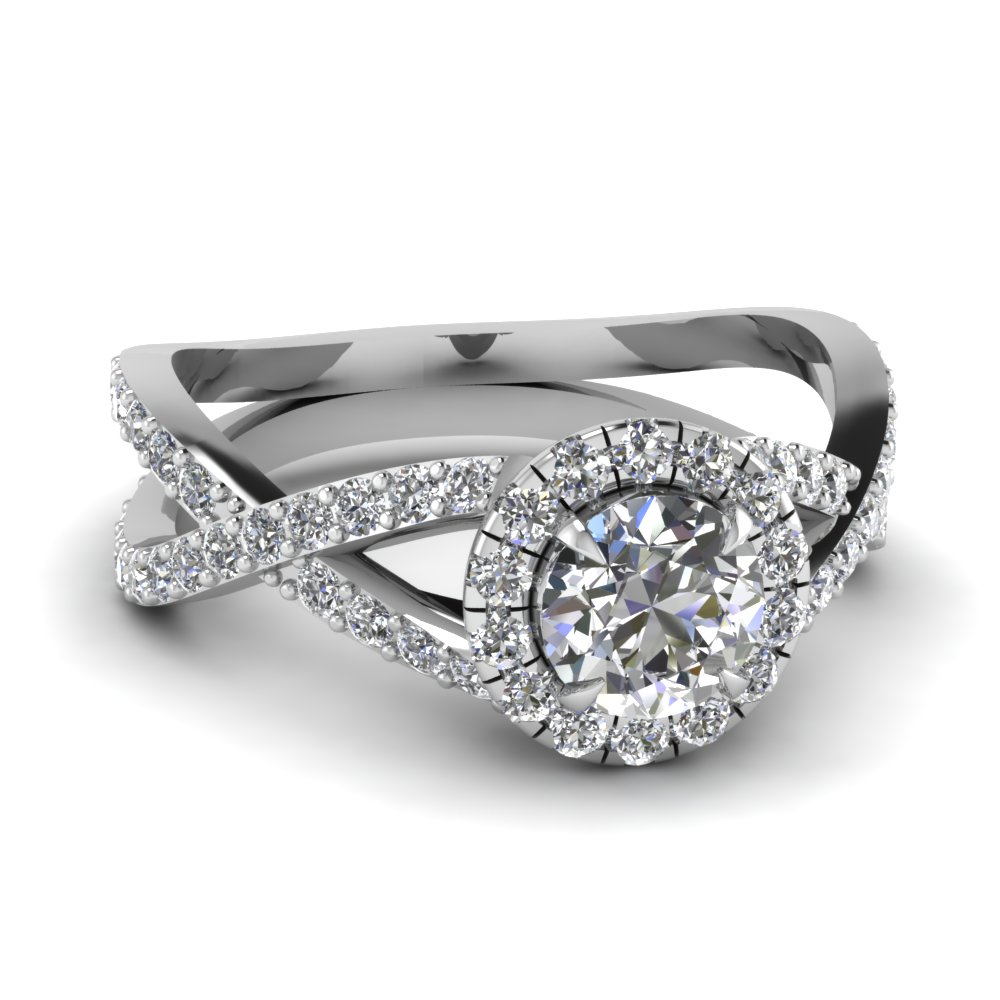 infinity halo round diamond engagement ring in FD1045ROR NL WG