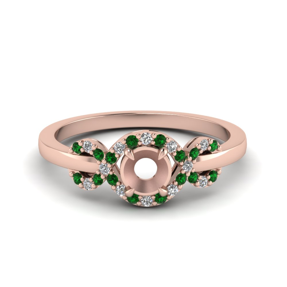 infinity halo semi mount diamond engagement ring with emerald in 14K rose gold FDENR9164SMRGEMGR NL RG