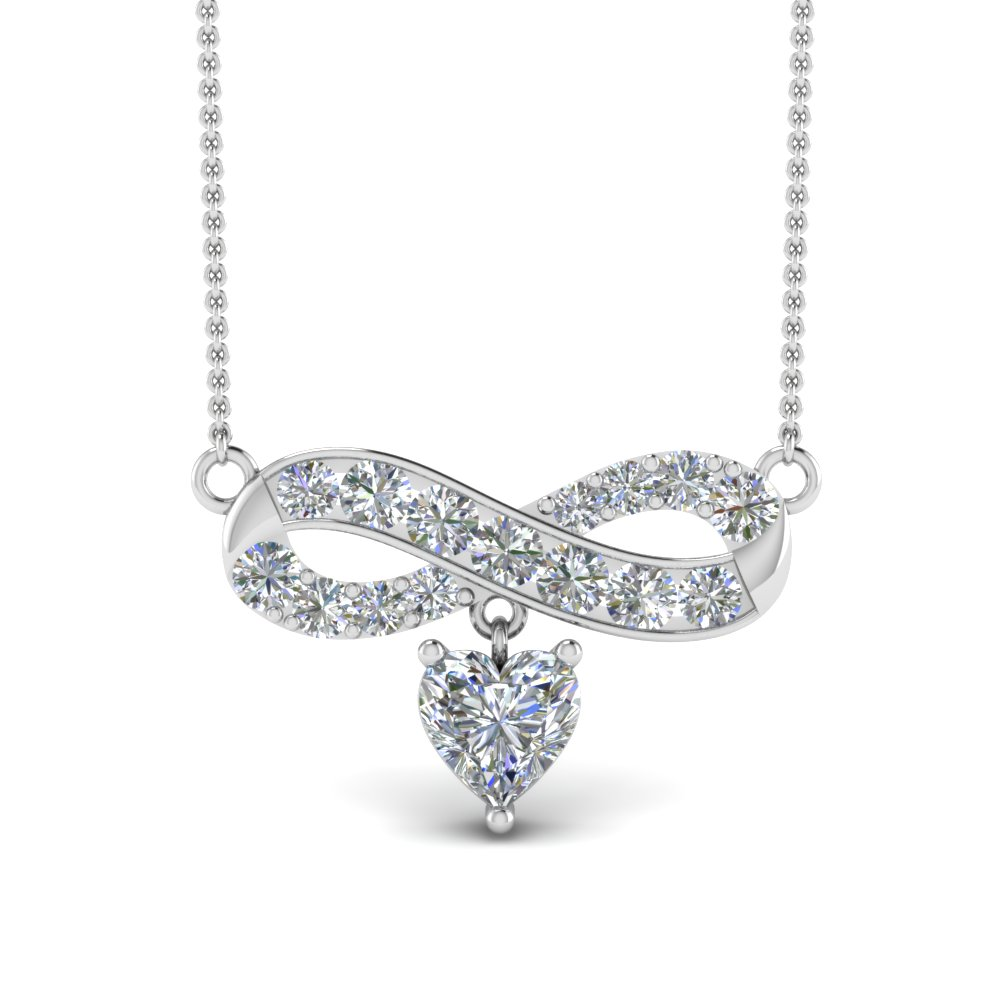infinity heart drop diamond necklace pendant in FDPD8837ANGLE2 NL WG