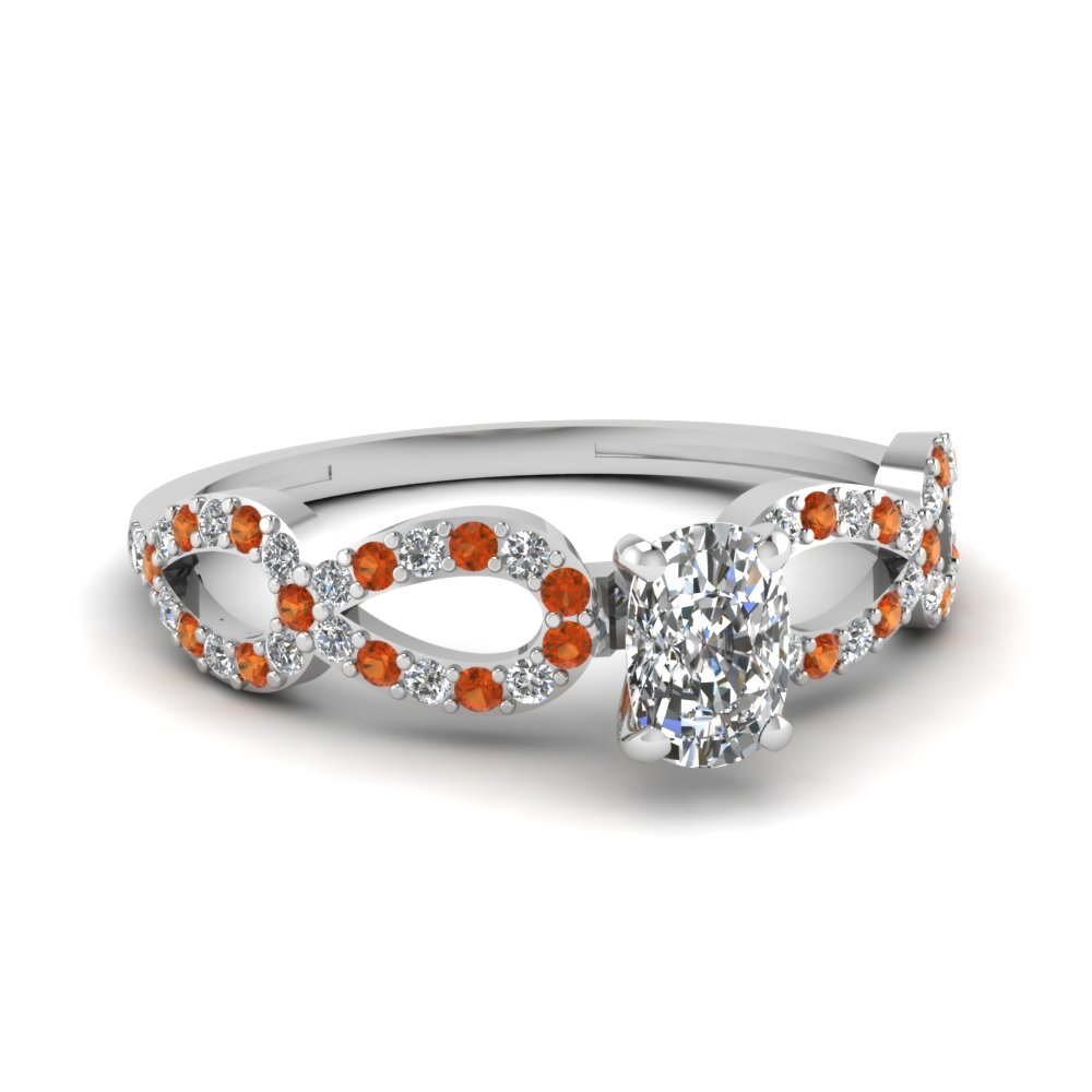 Cushion Cut Diamond And Orange Sapphire Engagement Ring