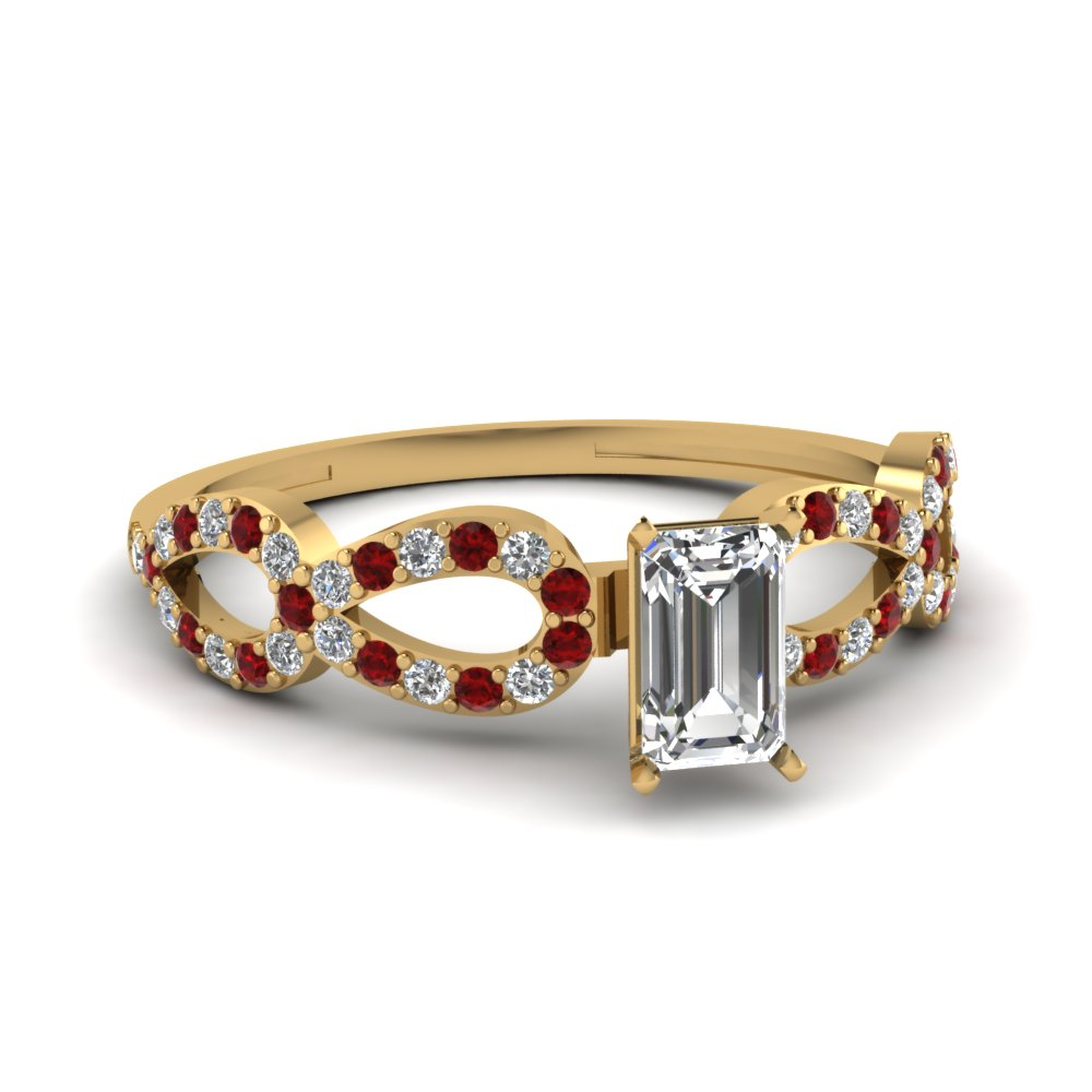 infinity loop emerald cut diamond side stone engagement ring with ruby in 18K yellow gold FDENS3040EMRGRUDR NL YG 30