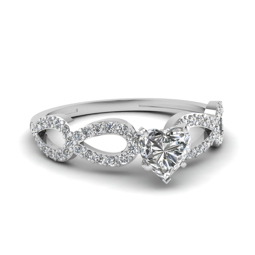 Infinity Loop Heart Shaped Diamond Side Stone Engagement Ring In 950