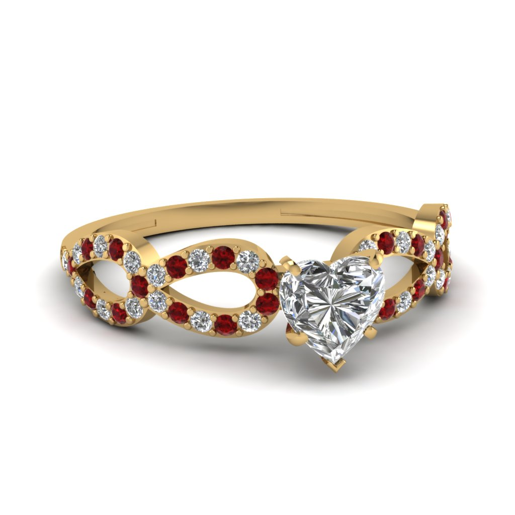 Heart Shaped Diamond & Ruby Yellow Gold Engagement Ring
