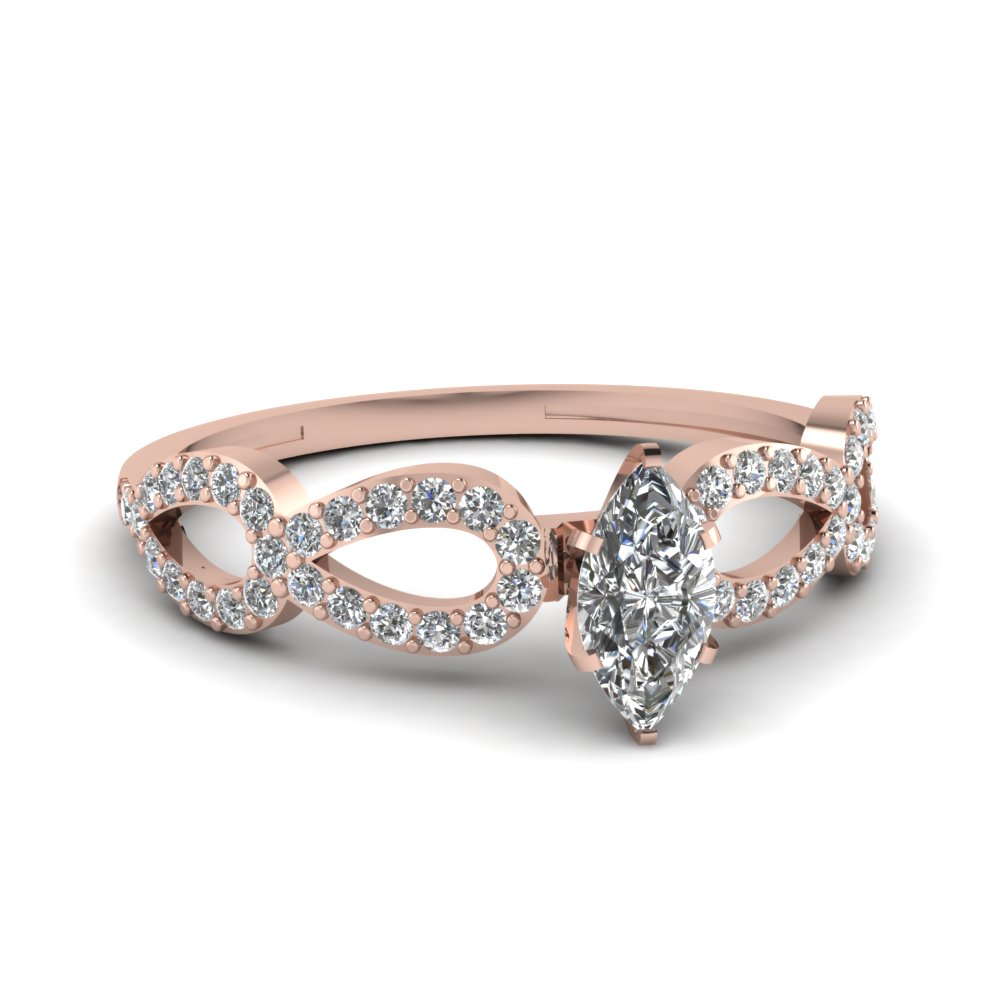 Infinity Twist Marquise Cut Diamond Engagement Ring