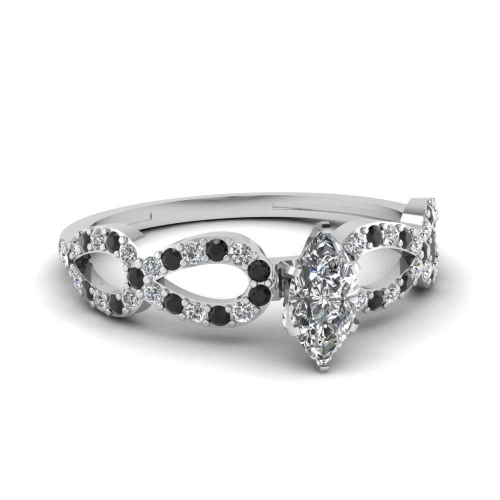 infinity loop marquise side stone engagement ring with black diamond in 950 platinum FDENS3040MQRGBLACK NL WG 30