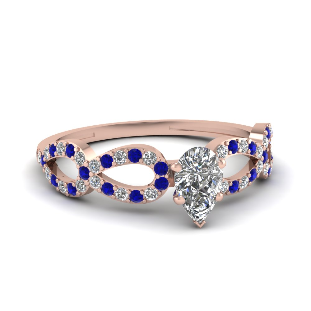 Split Band Women Engagement Ring With Pear Diamond And Sapphire