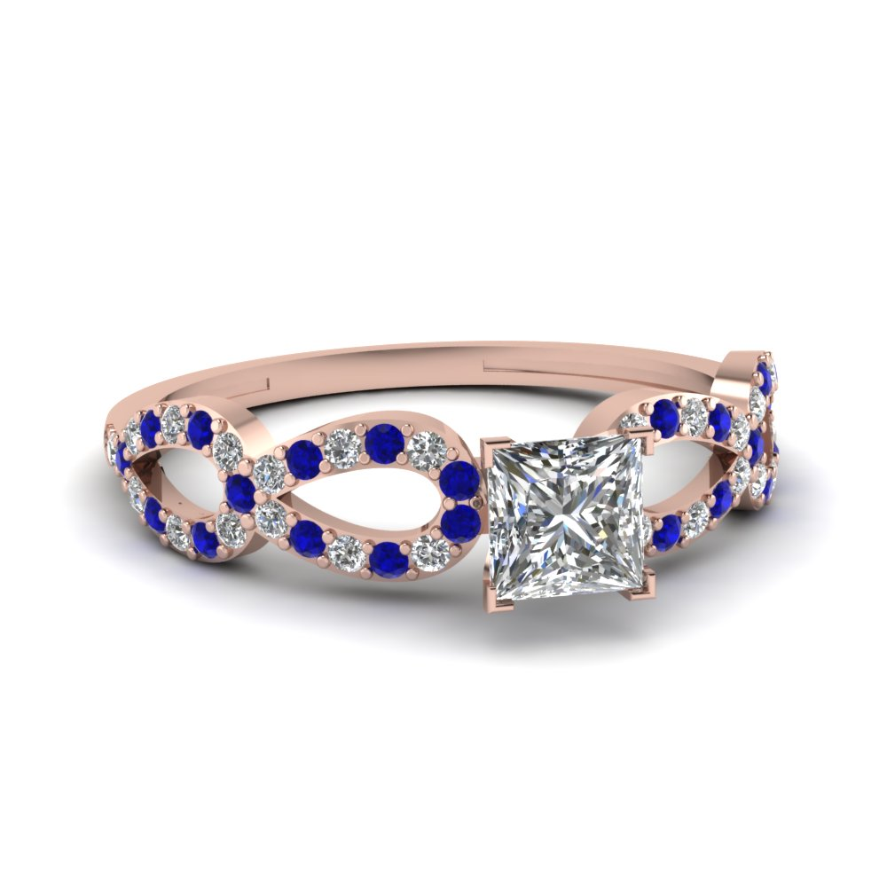 Split Shank Pave Engagement Ring With Princess And Sapphire