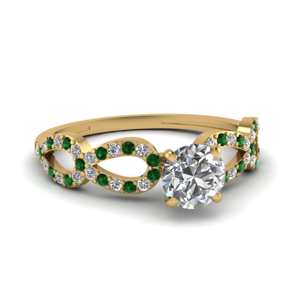 Round Cut Diamond Split Engagement Ring With Green Emerald