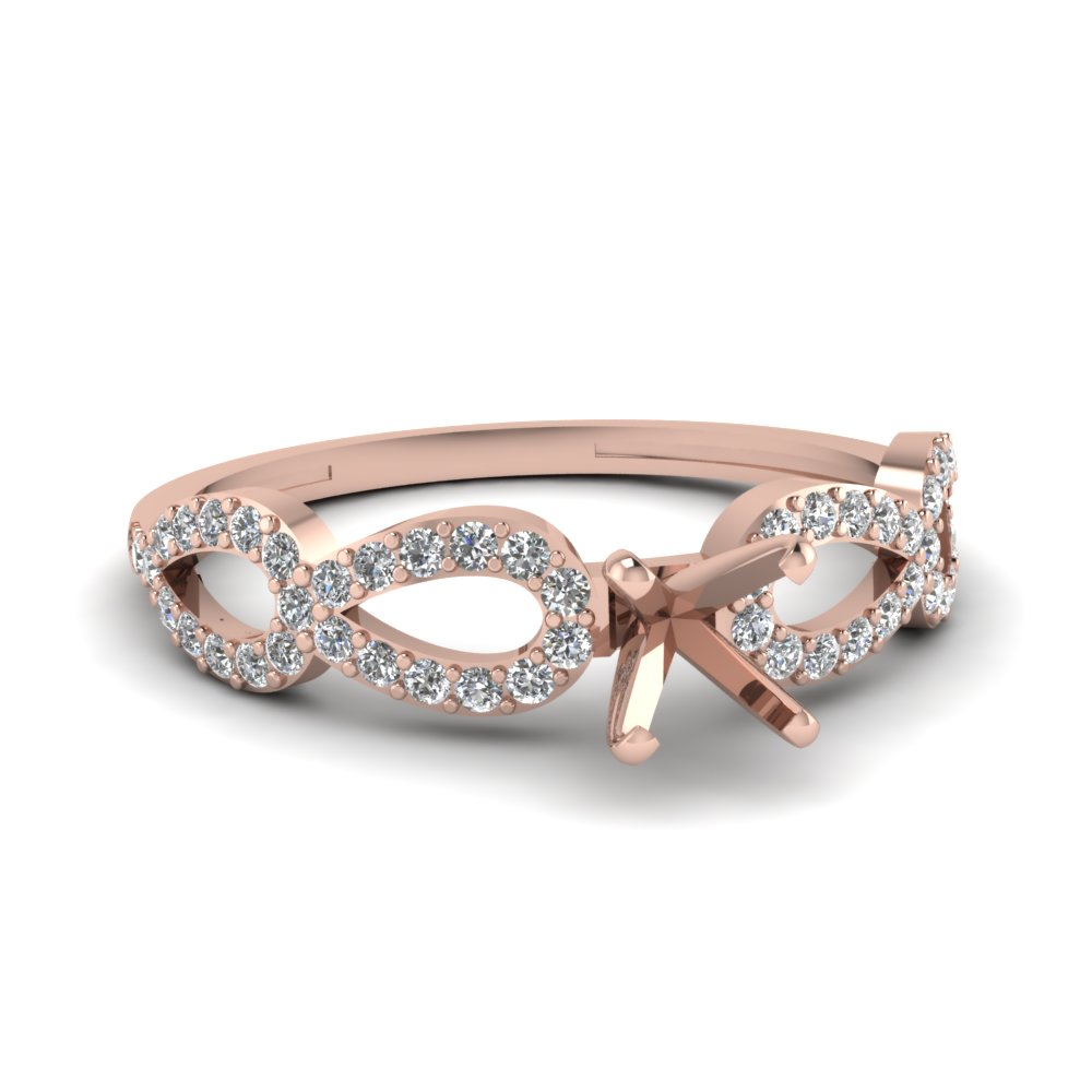 Infinity Twist Rose Gold Diamond Engagement Ring Setting