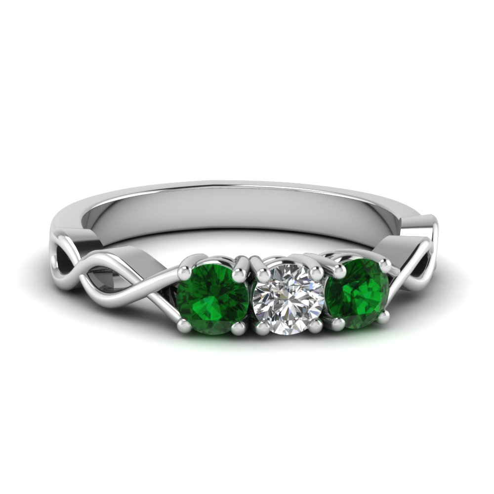 3 stone with emerald infinity promise band in FD122861BGEMGR NL WG