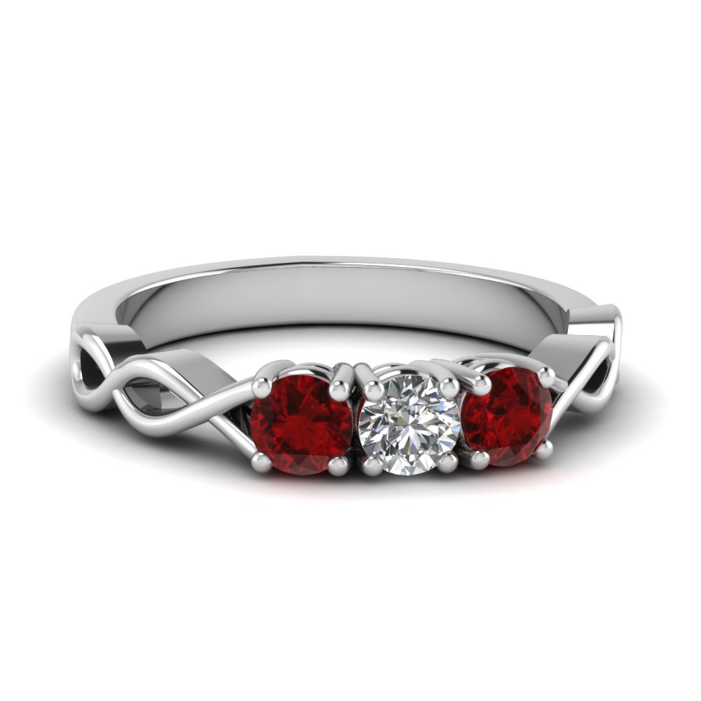 3 stone with ruby infinity promise band in FD122861BGRUDR NL WG