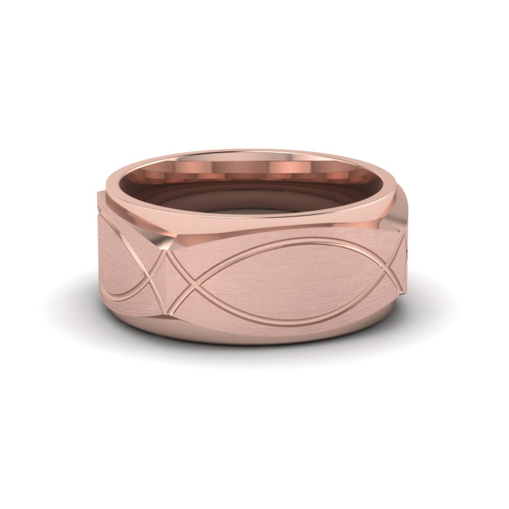 Infinity Texture Square Gold Mens Wedding Band Ring In 14K Rose Gold ...
