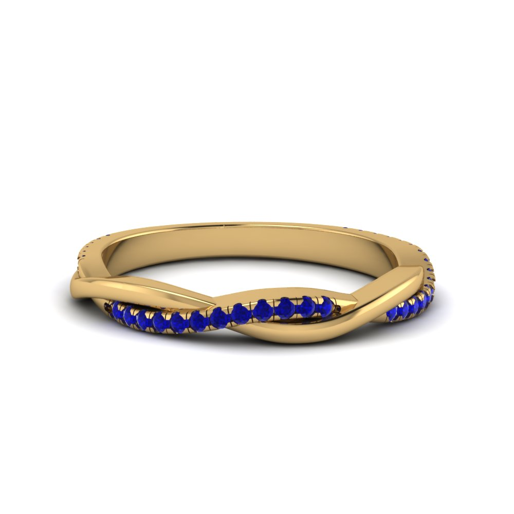 infinity twist sapphire wedding band in 14K yellow gold FD8253BGSABL NL YG