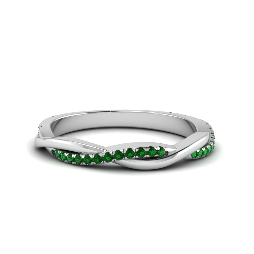 Emerald Twisted Anniversary Band