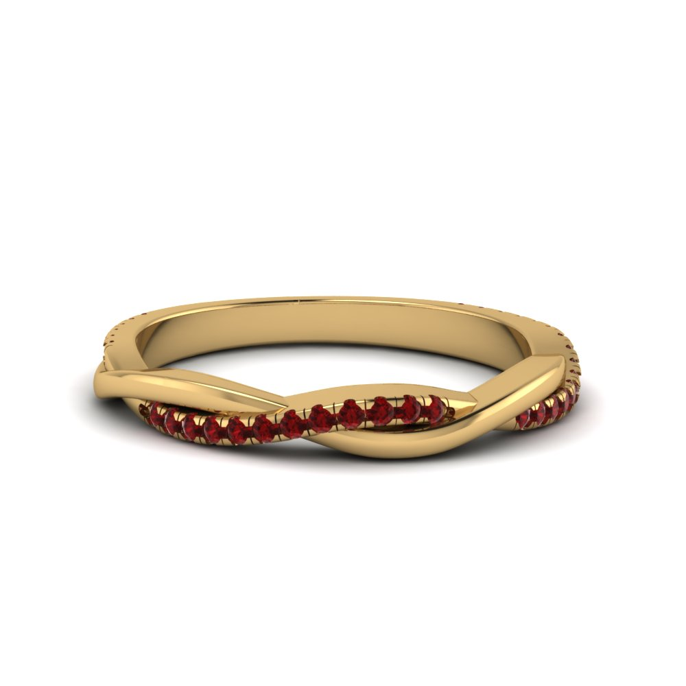 infinity twist ruby wedding band in 14K yellow gold FD8253BGRUDR NL YG