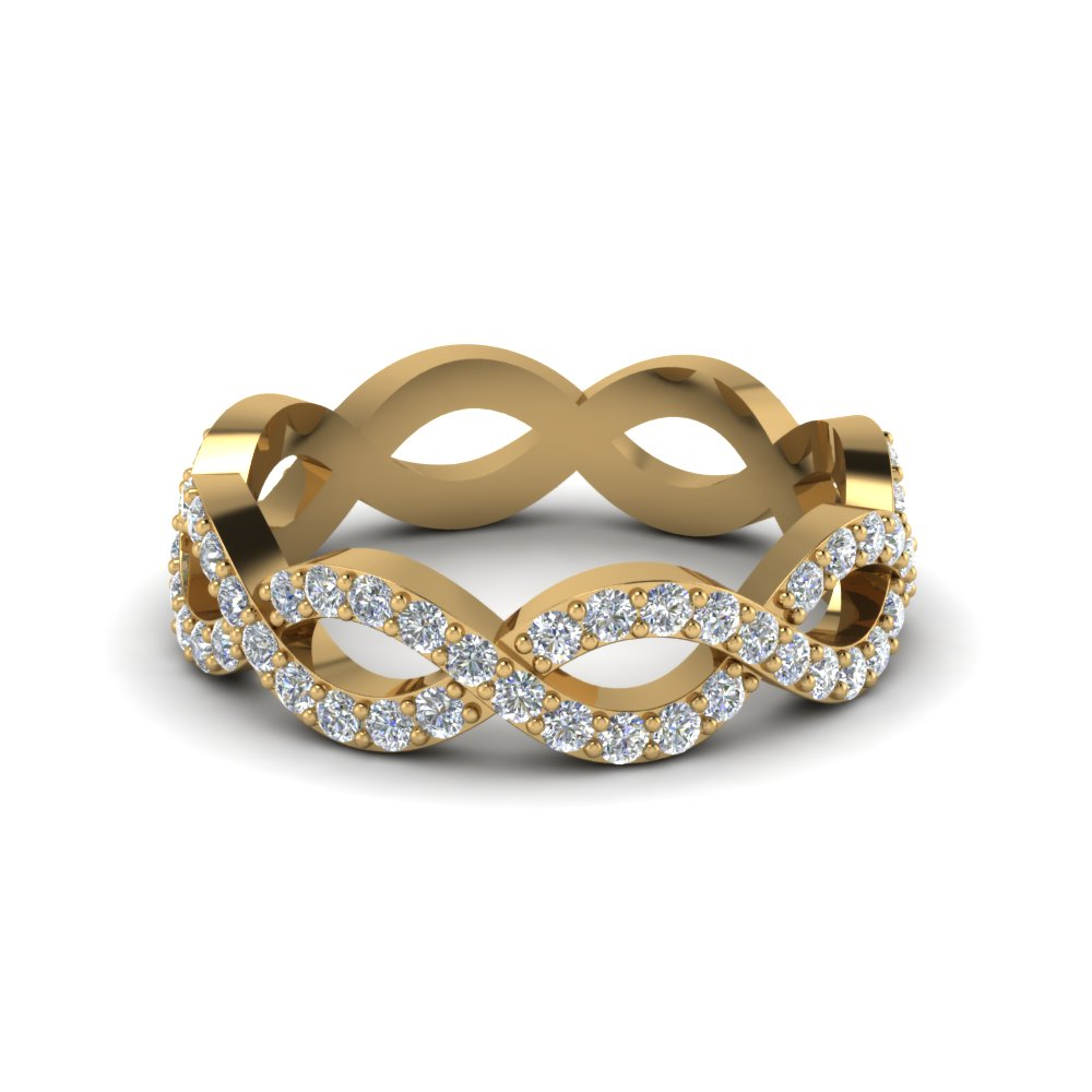 infinity twist diamond eternity anniversary ring gifts in 14K yellow gold FD8063B NL YG