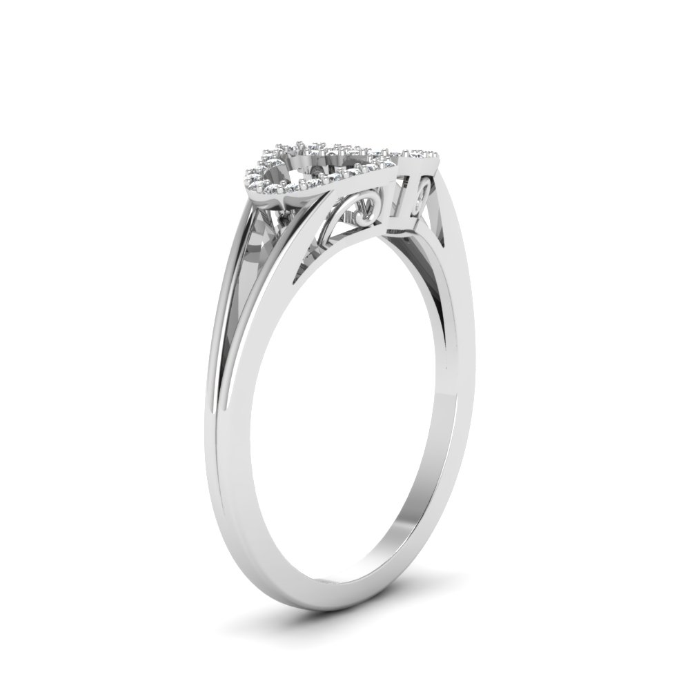 Interlinked Heart Design Diamond Promise Ring In 14K White Gold