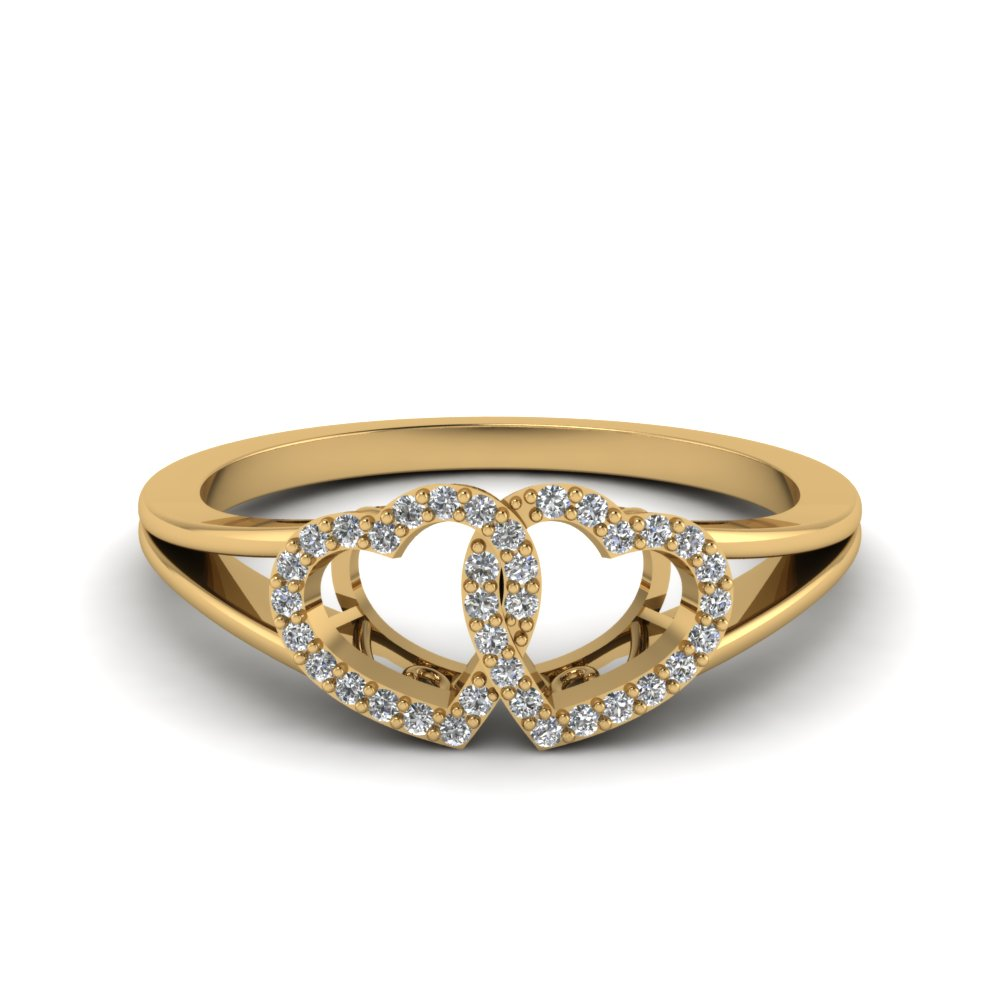 Double Heart Promise Ring With Diamonds